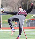 WATERTOWN CT. 16 April 2019-041619SV20-Matt Rylander of Torrington competes on the high jump during a track meet at Watertown High in Watertown Tuesday. Watertown hosted Woodland and Torrington in NVL boys and girls track.<br /> Steven Valenti Republican-American