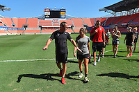 Houston, TX - Saturday Oct. 08, 2016: Jim Gabarra during a walk-thru prior to the National Women's Soccer League (NWSL) Championship match between the Washington Spirit and the Western New York Flash at Houston Sports Park.