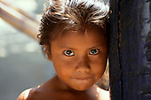 Roraima State, Brazil. Young Yanomami girl looking at the camera.