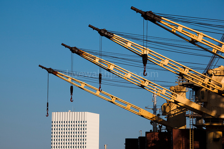 Ship cranes in in the port of Galveston, Texas.