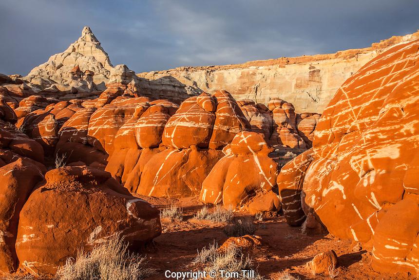 Lightning rocks and black clouds, Blue Mesa, Hopi Reservation, Arizona