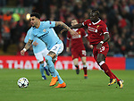 Kyle Walker of Manchester City is forced to turn back by Sadio Mane of Liverpool during the Champions League Quarter Final 1st Leg, match at Anfield Stadium, Liverpool. Picture date: 4th April 2018. Picture credit should read: Simon Bellis/Sportimage