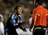Arturo Alvarez of Earthquakes reacts to referee Jorge Gonzalez's bad call during the game against Real Salt Lake at Buck Shaw Stadium in Santa Clara, California on March 27th, 2010.   Real Salt Lake defeated San Jose Earthquakes, 3-0.