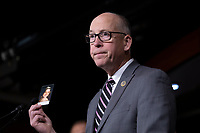 Representative Greg Walden, Republican of Oregon, speaks with reporters during a post Republican Caucus meeting press conference on Capitol Hill in Washington, DC on June 13, 2018. Credit: Alex Edelman / CNP /MediaPunch
