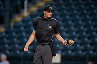 Home plate umpire Dillon Wilson during a game between the Dunedin Blue Jays and the Bradenton Marauders on May 2, 2018 at LECOM Park in Bradenton, Florida.  Bradenton defeated Dunedin 6-3.  (Mike Janes/Four Seam Images)