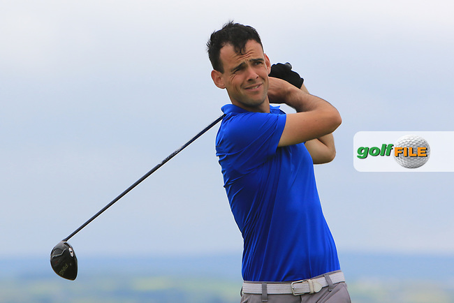 Paul Coughlan (Castleknock) on the 18th tee during Round 2 of the North of Ireland Amateur Open Championship 2019 at Portstewart Golf Club, Portstewart, Co. Antrim on Tuesday 9th July 2019.<br /> Picture:  Thos Caffrey / Golffile<br /> <br /> All photos usage must carry mandatory copyright credit (© Golffile | Thos Caffrey)