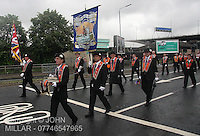 James Thomson Memorial Lodge walking with Govan District returning from the County Grand Orange Lodge of Glasgow Parade 2012 which took place in Glasgow on 7.7.12..