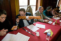 "Jury members examine baguettes competing for the title of Best Baguette in Paris, France, 5 January 2004. 120 bakers competed in the 2004 edition of the prestigious annual Grand Prix de la Baguette. The title went to Pierre Thilloux from ""La Fournée d?Augustine"" bakery in the 14th arrondissement of Paris."
