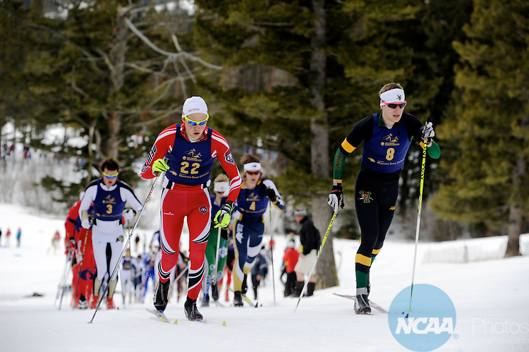 09 MAR 2012:  Sjur Prestseater (22) of the University of New Mexico and Franz Bernstein (8) of the University of Vermont lead the pack early in the race during the Men's Cross Country Classical event at the NCAA Division I Men and Women's Ski Championship held at Bohart Ranch hosted by Montana State University in Bozeman, MT. Prestseater finished 10th while Berstein finished 3rd. Brett Wilhelm/NCAA Photos.
