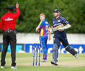 ICC World T20 Qualifier (Warm up match) - Scotland V Namibia at Grange CC, Edinburgh - Umpire Greg Brathwaite raises the finger as Scotland's Kyle Coetzer continues his run, heading for the locker room after making 28 — credit @ICC/Donald MacLeod - 06.7.15 - 07702 319 738 -clanmacleod@btinternet.com - www.donald-macleod.com