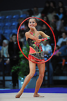 Daria Dmitrieva of Russia performs with hoop in Event Finals at 2010 World Cup at Portimao, Portugal on March 14, 2010.  (Photo by Tom Theobald).