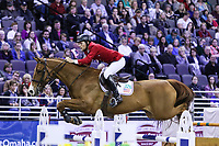 OMAHA, NEBRASKA - MAR 30: Karl Cook rides Tembla during the FEI World Cup Jumping Final I at the CenturyLink Center on March 30, 2017 in Omaha, Nebraska. (Photo by Taylor Pence/Eclipse Sportswire/Getty Images)