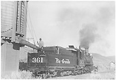 3/4 rear engineer's-side view of D&amp;RGW #361 taking water at Cedar Creek, CO.<br /> D&amp;RGW  Cedar Creek, CO  Taken by Maxwell, John W. - 5/30/1946