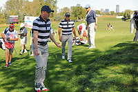 Justin Thomas (USA) and Rickie Fowler (USA) chat on their way to the 6th tee during round 1 foursomes of the 2017 President's Cup, Liberty National Golf Club, Jersey City, New Jersey, USA. 9/28/2017.<br /> Picture: Golffile   Ken Murray<br /> ll photo usage must carry mandatory copyright credit (&copy; Golffile   Ken Murray)