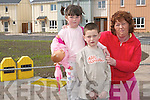 Waiting: Single mom Mary Costello, Ballylongford pictured at the site of the new Sandquay Council houses with her children.Michelle (4) and Aaron (6),