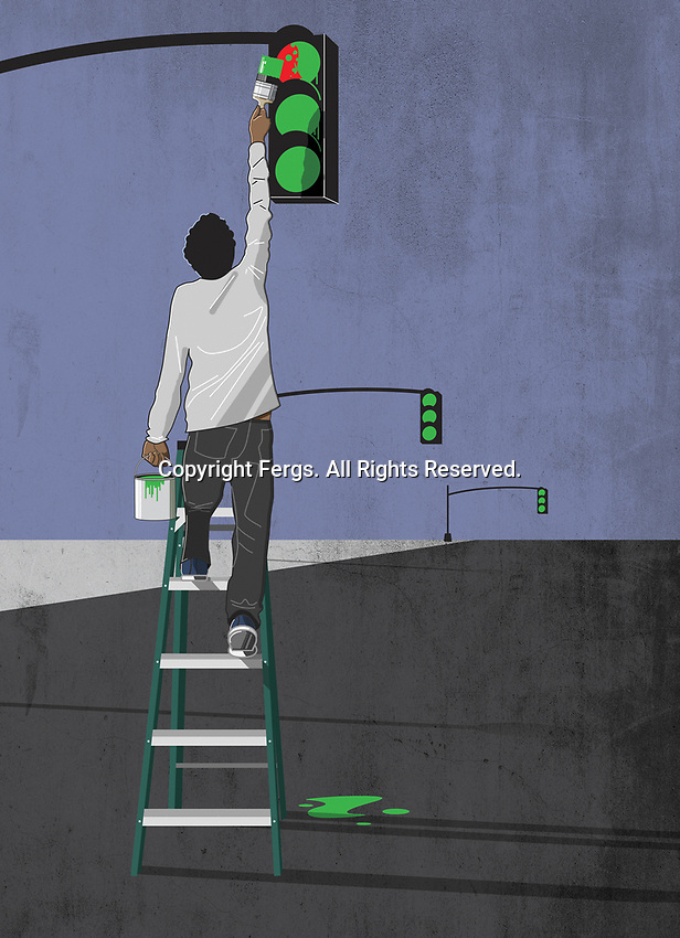 Man painting all traffic lights green ExclusiveImage