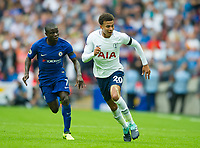 Chelsea's N'Golo Kante and Tottenham's Dele Alli during the Premier League match between Tottenham Hotspur and Chelsea at Wembley Stadium, London, England on 20 August 2017. Photo by Andrew Aleksiejczuk / PRiME Media Images.