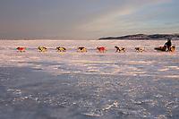 Jacques Philip runs downwind on Unalakleet River towards Unalakleet @ sunrise 2006 Iditarod AK