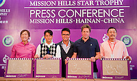 HAIKOU, CHINA - OCTOBER 28: (L-R) LPGA Tour player Candie Kung of Taiwan, Hong Kong singer Aaron Kwok, Dr. Ken Chu, Vice Chairman of Mission Hills Group, Hollywood actor Hugh Grant of Great Britain and Chinese film director He Ping pose with their handprints during a press conference as part of the Mission Hills Star Trophy on October 28, 2010 in Haikou, China. The Mission Hills Star Trophy is Asia's leading leisure liflestyle event and features Hollywood celebrities and international golf stars.  Photo by Victor Fraile / studioEAST