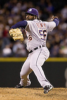 July 5, 2008:  Detroit Tigers reliever Fernando Rodney toes the rubber against the Seattle Mariners at Safeco Field in Seattle, Washington.