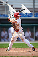 Auburn Doubledays second baseman Dalton Dulin (1) at bat during a game against the Vermont Lake Monsters on July 13, 2016 at Falcon Park in Auburn, New York.  Auburn defeated Vermont 8-4.  (Mike Janes/Four Seam Images)