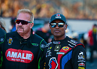 Jun 1, 2018; Joliet, IL, USA; NHRA top fuel drivers Antron Brown (right) and Terry McMillen during qualifying for the Route 66 Nationals at Route 66 Raceway. Mandatory Credit: Mark J. Rebilas-USA TODAY Sports