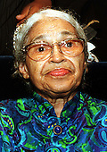 Washington, DC - File photo from September 18, 1998 -- Civil rights pioneer Rosa Parks attends the presentation ceremony of the Report from the President's Initiative on Race at The White House in Washington, D.C. on September 18, 1998. Ms. Parks passed away at her home in Detroit Michigan on Monday, October 24, 2005.  She was 92 years old..Credit: Ron Sachs / CNP