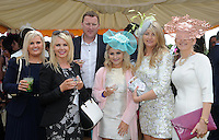 Pictured enjoying the summer fayre on the Ross Hotel / Lane Bar Champagne &amp; Cocktail Marquee at Killarney Races ladies Day on Thursday were from left, Kerry McCarthy, Tina and Brian Gallivan, Kenmare, Kelley Gallivan, Rosemarie Quill and Elaine Kelleher, Kenmare.<br /> Picture by Don MacMonagle<br /> <br /> <br /> PR Photo from Ross Hotel