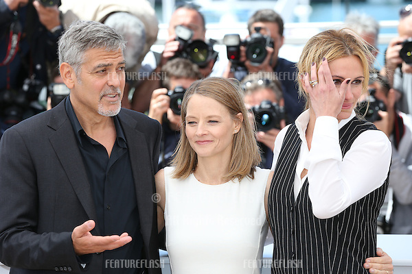 George Clooney, Jodie Foster and Julia Roberts attend the 'Money Monster' photocall during the 69th annual Cannes Film Festival at the Palais des Festivals on May 12, 2016 in Cannes<br /> Picture: Kristina Afanasyeva / Featureflash