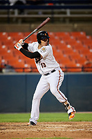 Frederick Keys designated hitter Jomar Reyes (3B) at bat during the second game of a doubleheader against the Lynchburg Hillcats on June 12, 2018 at Nymeo Field at Harry Grove Stadium in Frederick, Maryland.  Frederick defeated Lynchburg 8-1.  (Mike Janes/Four Seam Images)