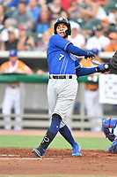 Biloxi Shuckers Jake Gatewood (7) swings at a pitch during a game against the Tennessee Smokies at  on August 10, 2019 in Kodak, Tennessee. The Shuckers defeated the Smokies 7-3. (Tony Farlow/Four Seam Images)