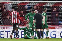 Preston's Paul Gallagher has words with Referee Simon Hooper with Brentford's Romaine Sawyers<br /> <br /> Photographer Jonathan Hobley/CameraSport<br /> <br /> The EFL Sky Bet Championship - Brentford v Preston North End - Saturday 10th February 2018 - Griffin Park - Brentford<br /> <br /> World Copyright &copy; 2018 CameraSport. All rights reserved. 43 Linden Ave. Countesthorpe. Leicester. England. LE8 5PG - Tel: +44 (0) 116 277 4147 - admin@camerasport.com - www.camerasport.com