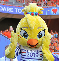 """20190629 - VALENCIENNES , FRANCE : illustration picture shows """" Ettie"""" the tournament mascotte  during the female soccer game between Italy  - Squadra Azzurrine - and The Netherlands  – Oranje Leeuwinnen - , a knock out game in the quarter finals of the FIFA Women's  World Championship in France 2019, Saturday 29 th June 2019 at the Stade du Hainaut Stadium in Valenciennes , France .  PHOTO SPORTPIX.BE 