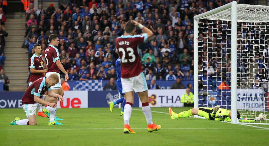 Burnley's Ben Mee looks dejected after scoring an own goal<br /> <br /> Photographer Rachel Holborn/CameraSport<br /> <br /> The Premier League - Leicester City v Burnley - Saturday 17th September 2016 - King Power Stadium - Leicester <br /> <br /> World Copyright &copy; 2016 CameraSport. All rights reserved. 43 Linden Ave. Countesthorpe. Leicester. England. LE8 5PG - Tel: +44 (0) 116 277 4147 - admin@camerasport.com - www.camerasport.com