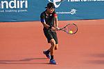 Yosuke Watanuki (JPN) , <br /> AUGUST 20, 2018 - Tennis : <br /> Men's Singles Round of 32 <br /> at Jakabaring Sport Center Tennis Court <br /> during the 2018 Jakarta Palembang Asian Games <br /> in Palembang, Indonesia. <br /> (Photo by Yohei Osada/AFLO SPORT)