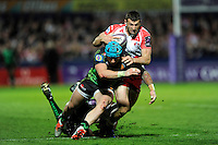Jonny May of Gloucester Rugby can find no way through Jack Nowell and Sam Hill of Exeter Chiefs during the European Rugby Challenge Cup semi final match between Gloucester Rugby and Exeter Chiefs at Kingsholm Stadium on Saturday 18th April 2015 (Photo by Rob Munro)