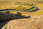 Sweetwater River meanders to the south and west of Independence Rock, Wyoming