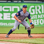 22 June 2017: Brooklyn Cyclones infielder Reed Gamache in action against the Vermont Lake Monsters at Centennial Field in Burlington, Vermont. The Cyclones defeated the Lake Monsters 5-3 in NY Penn League action. Mandatory Credit: Ed Wolfstein Photo *** RAW (NEF) Image File Available ***