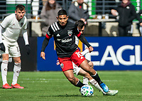WASHINGTON, DC - FEBRUARY 29: Edison Flores #10 of DC United moves away from Jack Price #19 of the Colorado Rapids during a game between Colorado Rapids and D.C. United at Audi Field on February 29, 2020 in Washington, DC.