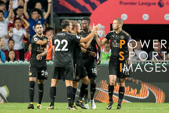 Leicester City FC forward Islam Slimani (R) celebrates with teammates during the Premier League Asia Trophy match between Liverpool FC and Leicester City FC at Hong Kong Stadium on 22 July 2017, in Hong Kong, China. Photo by Weixiang Lim / Power Sport Images