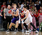SIOUX FALLS, SD: MARCH 4: Tyler Flack #23 from the University of South Dakota applies pressure to Brandon Gilbeck #52 from Western Illinois on March 4, 2017 during the Summit League Basketball Championship at the Denny Sanford Premier Center in Sioux Falls, SD. (Photo by Dave Eggen/Inertia)
