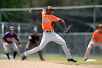 Pitcher Juan Guzman (52) of the Baltimore Orioles organization during a minor league spring training game against the Minnesota Twins on March 20, 2014 at Buck O'Neil Complex in Sarasota, Florida.  (Mike Janes/Four Seam Images)