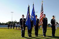 Batavia Muckdogs national anthem ceremonies before a game against the Auburn Doubledays on June 18, 2013 at Dwyer Stadium in Batavia, New York.  Batavia defeated Auburn 10-2.  (Mike Janes/Four Seam Images)