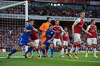 Leicester City's Shinji Okazaki battles for position at a corner<br /> <br /> Photographer Craig Mercer/CameraSport<br /> <br /> The Premier League - Arsenal v Leicester City - Friday 11th August 2017 - Emirates Stadium - London<br /> <br /> World Copyright &copy; 2017 CameraSport. All rights reserved. 43 Linden Ave. Countesthorpe. Leicester. England. LE8 5PG - Tel: +44 (0) 116 277 4147 - admin@camerasport.com - www.camerasport.com