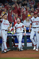 Zack Gregory (3) of the Arkansas Razorbacks reacts to a play during the game against the Texas Longhorns in game six of the 2020 Shriners Hospitals for Children College Classic at Minute Maid Park on February 28, 2020 in Houston, Texas. The Longhorns defeated the Razorbacks 8-7. (Brian Westerholt/Four Seam Images)