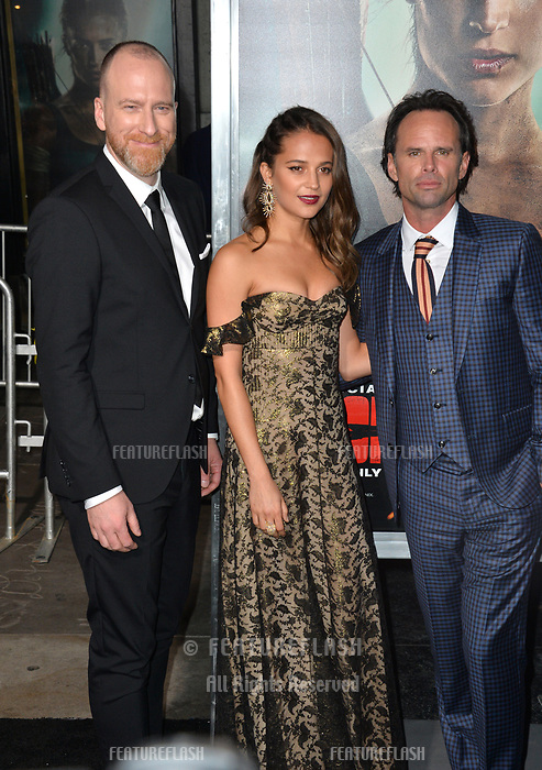 Roar Uthaug, Alicia Vikander &amp; Walton Goggins at the US premiere for &quot;Tomb Raider&quot; at the TCL Chinese Theatre, Los Angeles, USA 12 March 2018<br /> Picture: Paul Smith/Featureflash/SilverHub 0208 004 5359 sales@silverhubmedia.com