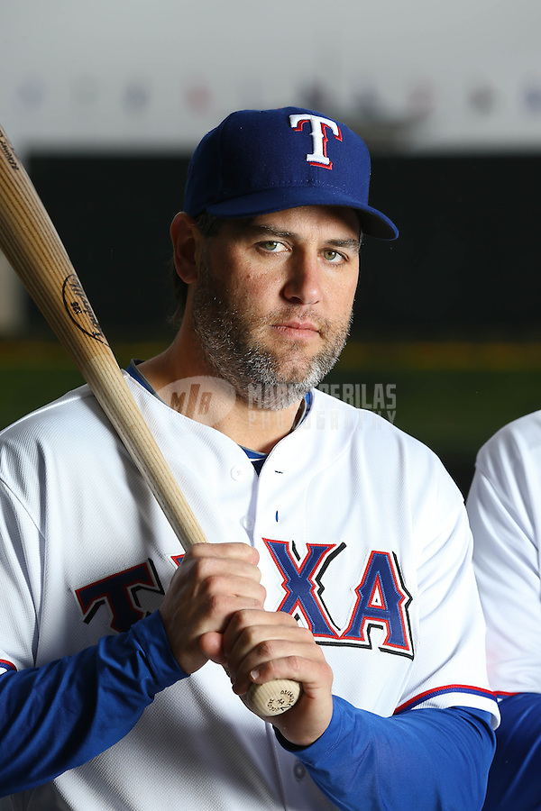 Feb. 20, 2013; Surprise, AZ, USA: Texas Rangers first baseman Lance Berkman poses for a portrait during photo day at Surprise Stadium. Mandatory Credit: Mark J. Rebilas-
