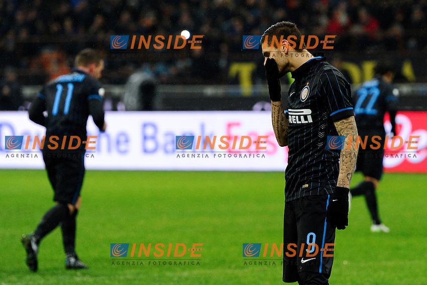 Delusione rigore fallito Mauro Icardi Inter<br /> Milano 21-01-2015 Stadio Giuseppe Meazza - Football Calcio Coppa Italia Inter - Sampdoria. Foto Giuseppe Celeste / Insidefoto