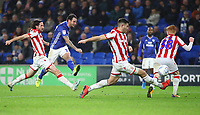 26th November 2019; Cardiff City Stadium, Cardiff, Glamorgan, Wales; English Championship Football, Cardiff City versus Stoke City; Lee Tomlin of Cardiff City shoots at goal - Editorial Use - Strictly Editorial Use Only. No use with unauthorized audio, video, data, fixture lists, club/league logos or 'live' services. Online in-match use limited to 120 images, no video emulation. No use in betting, games or single club/league/player publications