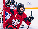 PyeongChang 15/3/2018 - Greg Westlake (#12), of Oakville, ON, celebrates his goal as Canada takes on Korea in semifinal hockey action at the Gangneung Hockey Centre during the 2018 Winter Paralympic Games in Pyeongchang, Korea. Photo: Dave Holland/Canadian Paralympic Committee